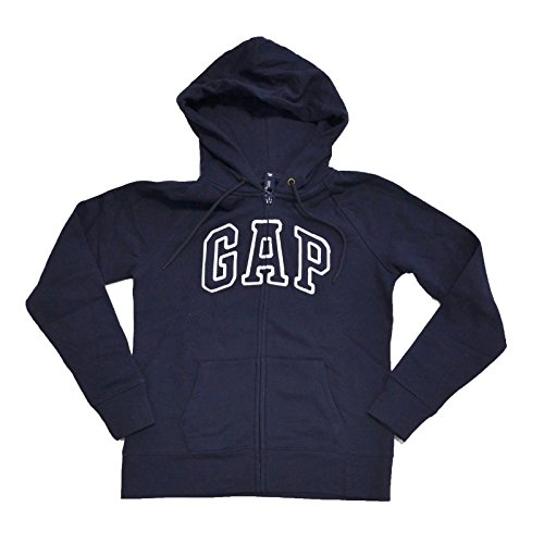 GAP Womens Fleece Arch Logo Full Zip Hoodie (Navy Blue, Medium) - Logo Fleece Jacket