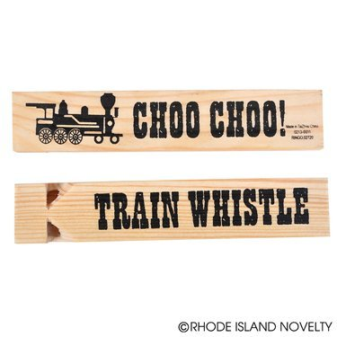 5.75'' Wooden Train Whistles - 12 Pack