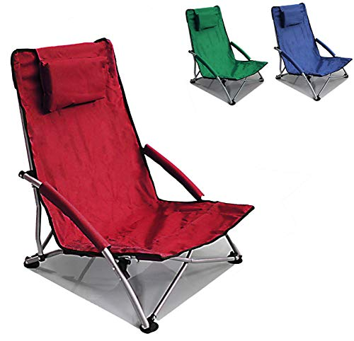 Low Sling Beach Chair Folding Red
