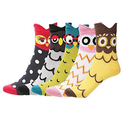 Women Crew Socks Vintage Winter Warm Casual Knit Sock - LATH.PIN (Medium) (OWL, One Size)