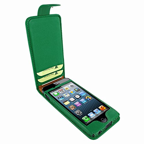 (Piel Frama 601 Green Leather Case with Snap Closure for Apple iPhone 5 / 5S / SE)