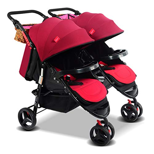 KHUY Scooter X2 Double Stroller, Double Stroller   Lightweight Double Stroller with Tandem Seating,Side by Side Tandem Umbrella Cart (Color : Wine red)