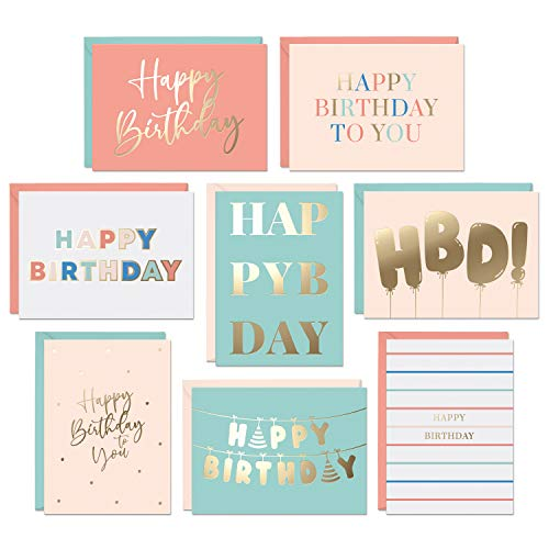 Set of 48 Gold Foil Bulk Birthday Cards Assortment – Bulk Happy Birthday Card with Envelopes Box Set – Assorted Blank Birthday Cards for Women, Men, and Kids in a Boxed Card Pack