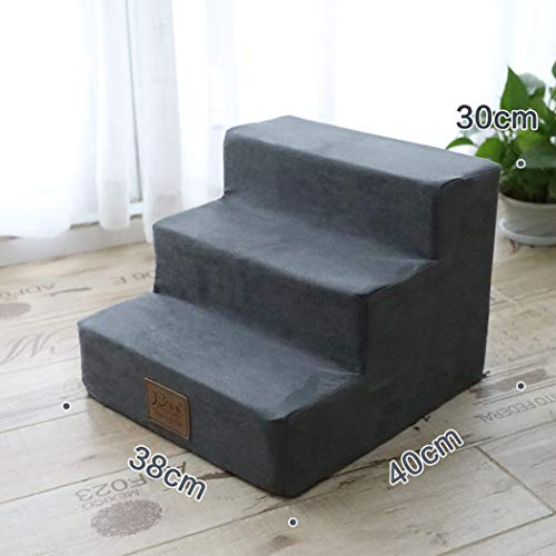 559 Sofa - TtyhchPet Bed Ladder Small Dog Teddy Stairs 3 Steps Climb Sofa Ladder for Dog Cat Little Animal Up to 1.5-3 KG,Grey