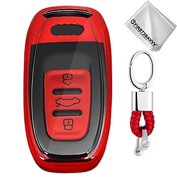 Rojo Funda para Llave Smart Key para Coche 3 Button Audi A4 ...