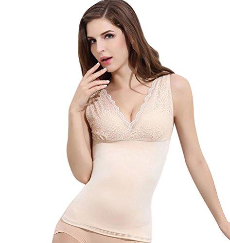 ZKOO Mujer Camiseta Moldeadora con Encaje Adelgazamiento Forma Adelgazante Ropa de Interior Chaleco en Profundo Cuello V Beige