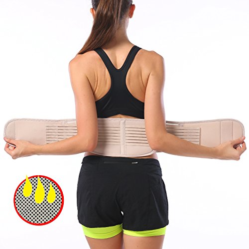 FOUMECH Back Brace Support Belt for Men and Women - Adjustable Lumbar Lower Back Support Massage Brace Self-heating Magnetic Therapy Belt - Helps Relieve Lower Back Pain And Stress (Nude, X-Large)