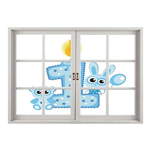 SCOCICI Creative Window View Home Decor/Wall Décor-1st Birthday Decorations,Boys Party Theme with a Cake Candle Rabbit and Bear,Baby Blue and Light Blue/Wall Sticker Mural for $<!--$26.66-->