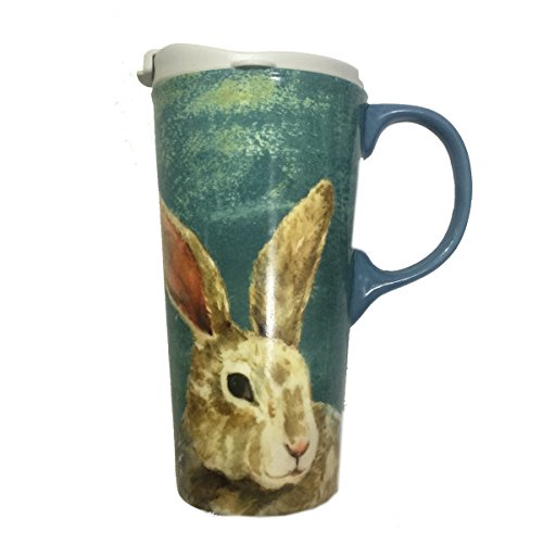 MRS BEAUTY Transitory Covered Rabbit Mug for Coffee,Tea,Coco with Face Tonic 17oz ()