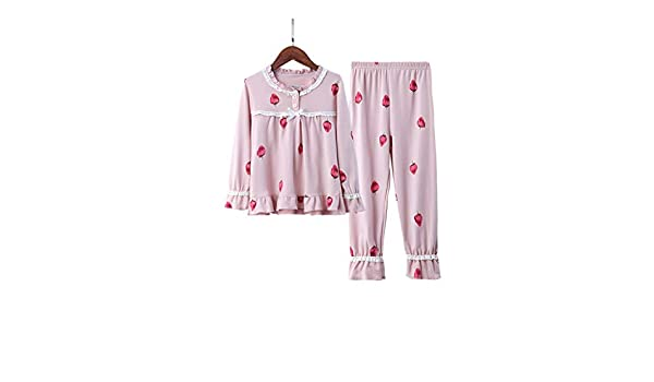 Lilongjiao Long-Sleeved Cotton Pajamas Set Girls and Womens Pajamas Buttons Open Pajamas Childrens Pajamas Set Two-Piece