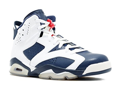 Nike Mens Air Jordan 6 Retro Olympic White/Midnight Navy-Varsity Red Leather Basketball Shoes Size 8.5 (Jordan Olympic 6 Air)