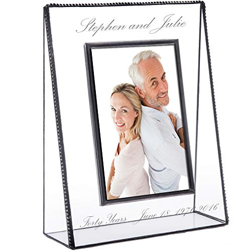 J Devlin Pic 319-57V EP553 Personalized Anniversary Picture Frame Tabletop 5 x 7 Vertical Photo Frame Engraved Glass Keepsake - Frame Engraved