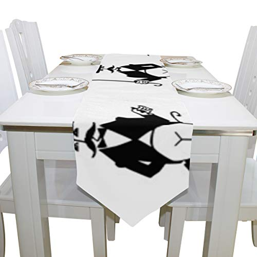 - Menedo Table Cover Gentleman Handsome Funny Diamond Table Runner Traditional Tablecloths for Kitchen Outdoor Carnival Party Office Table Covers Bar Coasters 13x90 Inch