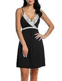 HOTOUCH Women V Neck Sleeveless Adjustable Strap Lace Full Slip Chemise Lounge Dress