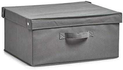 Zeller 14606 – Caja con Tapa, Plegable, Papel, plástico, Gris, 41 ...
