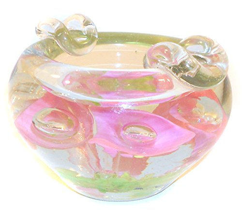 Large Heavy Handmade Flower Vintage Art Glass Paperweight Ashtray