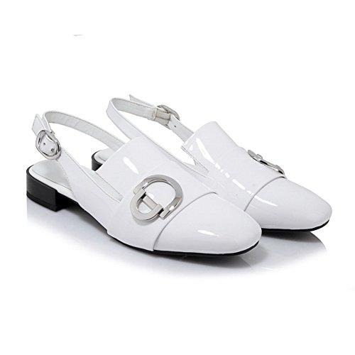BalaMasa Womens Toggle Mini-Size Square-Toe Urethane Sandals ASL04992 White uGNCSyjwdX