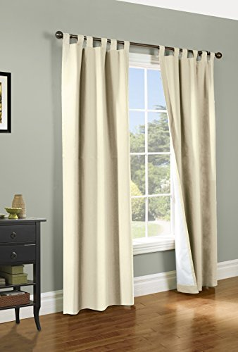 Tab Top Thermal Drapery - Weathermate Thermalogic Tab Top Insulated Energy Efficient Drapery Pair, Natural 80