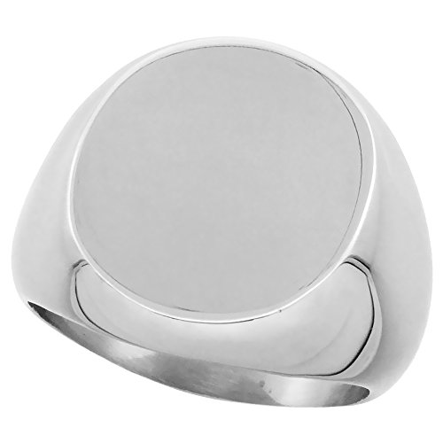 Surgical Stainless Steel Large Oval Signet Ring Solid Back Flawless Finish 3/4 inch, size - Oval Ring Signet Mens