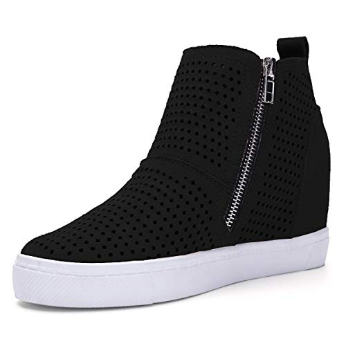 Athlefit Women's Hidden Wedge Booties Perforated Platform Sneakers Size 39 Black