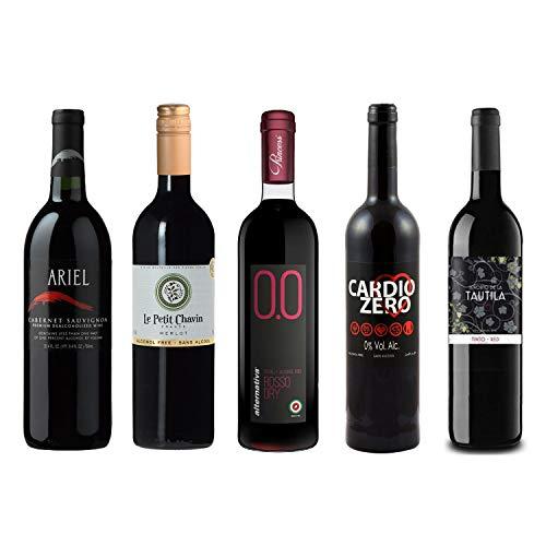 Red Wine Sampler - Five (5) Non-Alcoholic Wines 750ml Each - Featuring Ariel Cabernet Sauvignon, Le Petit Merlot, Rosso Dry, Cardio Zero Red, and Tautila Tinto