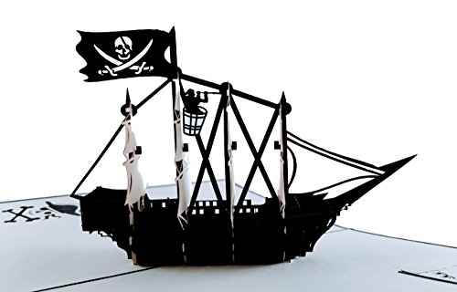 iGifts and Cards Pirate Ship 3D Pop up Greeting Card - Flag, Vessels, Boat, Skull, Treasure, Island, Fun, Half-Fold, Happy Birthday, Just Because, Thank You, Bon Voyage, Retirement, All Occasion, BFF (Valentine Nautical Cards)