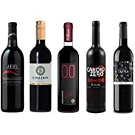 Red Wine Sampler - Five (5) Non-Alcoholic Wines 750ml Each - Featuring Ariel Cabernet Sauvignon, Le Petit Merlot, Rosso Dry, Cardio Zero Red, and Tautila Tinto