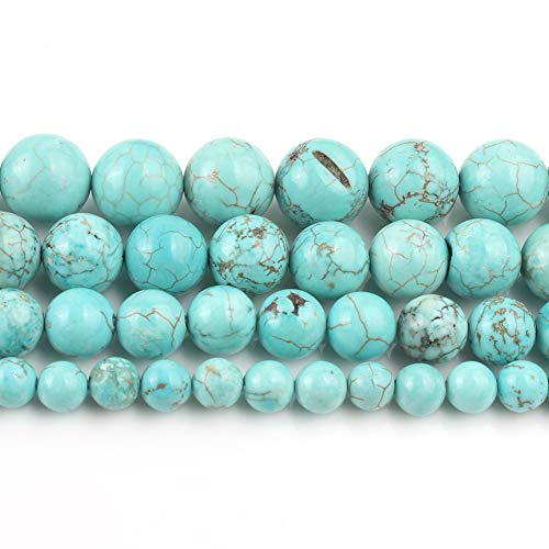 Yochus 10mm Blue turquoises Round Loose Beads Stone Beads for Jewelry Making