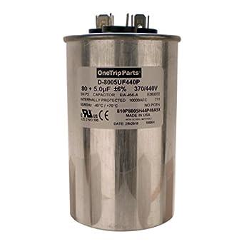 OneTrip Parts USA Run Capacitor 80+5 UF 80/5 MFD 370 VAC / 440 VAC on
