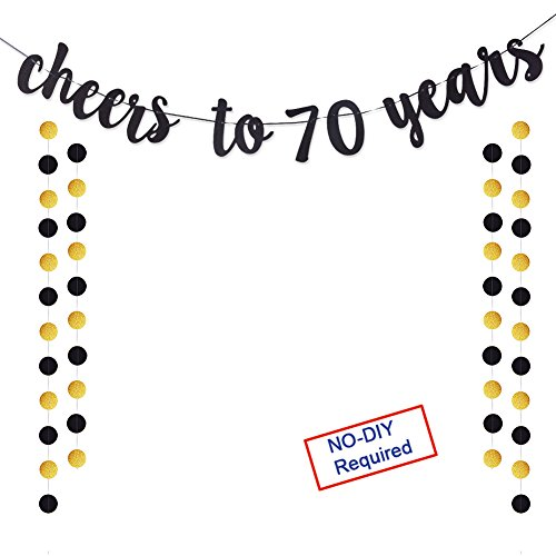 Threemart Cheers to 70 Years Gold Glitter Banner for Adult 70th Birthday Party Wedding Anniversary Party Decorations]()
