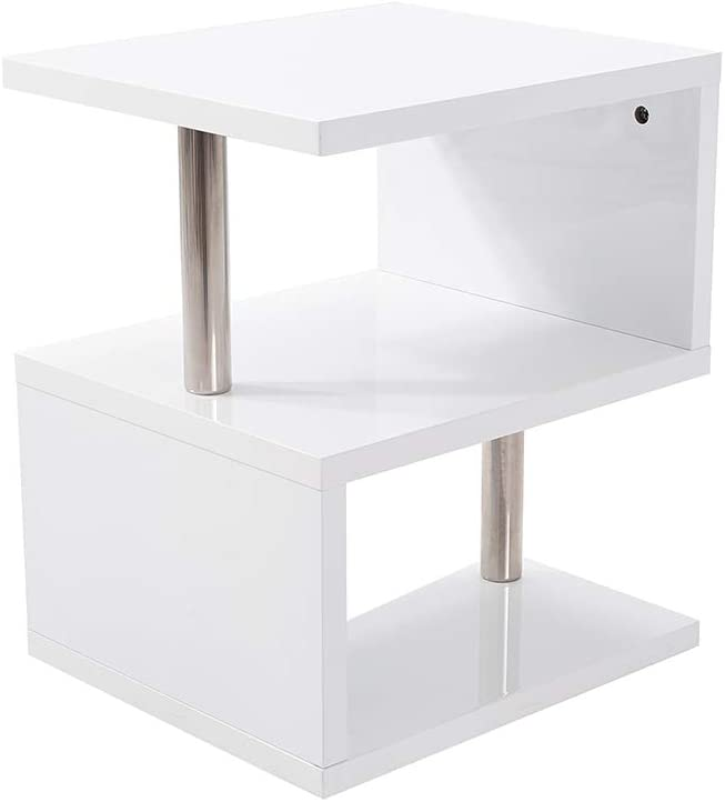 Surun LED Side Table White High Gloss Side Table With Blue LED Lights Coffee Table With 2 Tier Storage Shelves Unit for Living Room Bedroom