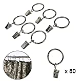Creatiee 80Pcs Curtain Clips Rings, Metal Decorative Drapery Ring with Clip, Rustproof Window Curtain Ring Hooks Set with Clips (1.3'', Silver)