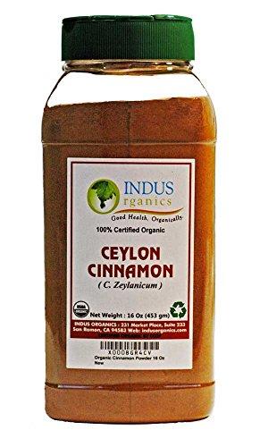 Indus Organics Ceylon Cinnamon Powder, 1 Lb Jar, Premium Grade, High Purity, Freshly Packed