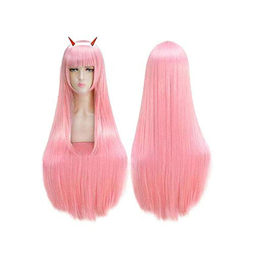 Darling in The FRANXX Cosplay Wig Zero Two Halloween Costumes Hair with Headband ()