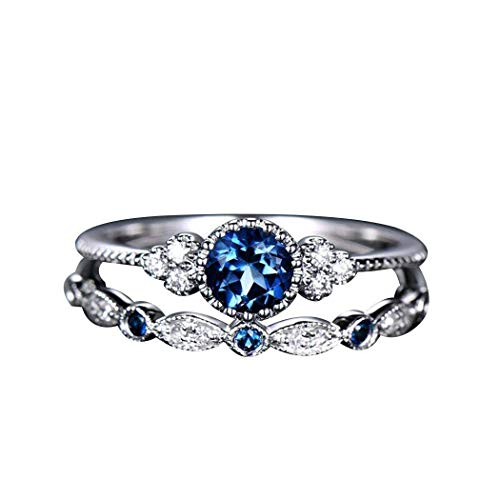 Women Knuckle-Ring Double Layer Rhinestone Blue 8 US