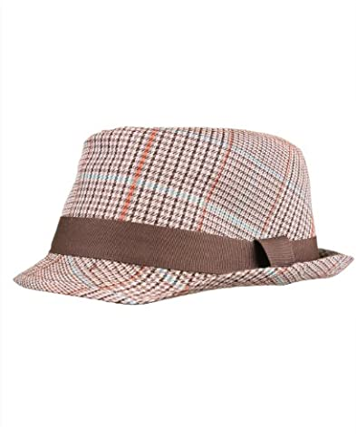 RuggedButts Little Boys Fedora - Ivory w/Brown Plaid - 2T-5 (L)
