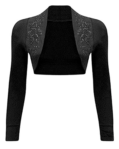NEW Womens Beaded Long Sleeve Shrugs Sequin Bolero Crop Cardigan Top (8/10, (Beaded Crop Jacket)