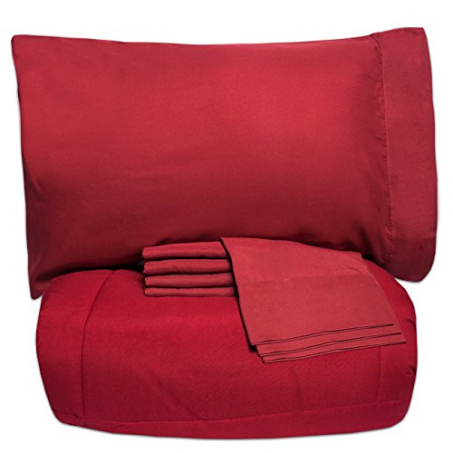 Full 7 Piece Bed (Sweet Home Collection 7 Piece Bed-in-a-Bag Solid Color Comforter and Sheet Set, Full, Red, 7)