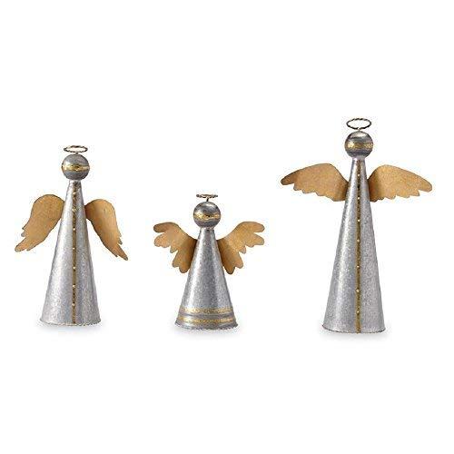 Mud Pie Galvanized Tin Angel Décor Set of 3 Table Sitter Set Silver, Gold