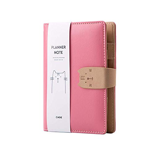 Aimeio Personal Organizer Planner,A7 PU Leather Cute Cat 6 Ring Binder Planner Traveler Journal Notebook Diary with Card Holder,Pen Loop and Insert Filler Paper,Pink