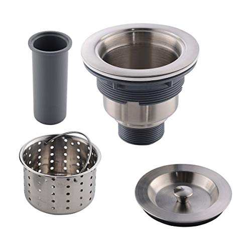 APPASO 3.5 inches Kitchen Sink Drain Strainer with Removable Deep Basket Cup Sealing Lid SUS 304 Stainless Steel, Sink Strainer Assembly, Stopper Sealing Lid, Kitchen Sink Drain Kit, Brushed Nickel