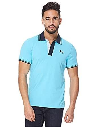 Balmain Blue V Neck Polo For Men