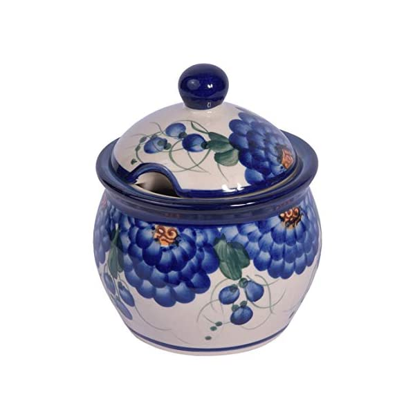 Traditional Polish Pottery, Handcrafted Ceramic Lidded Sugar Bowl with a Spoon Slot (400ml / 14 fl oz), Boleslawiec Style Pattern, C.101 (Arts collection)