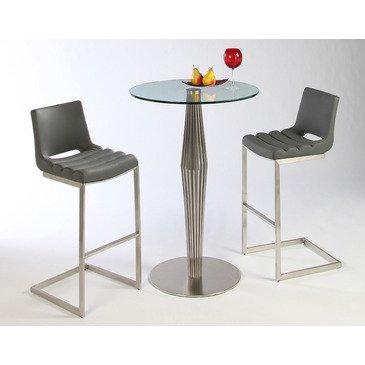 Amazon Com Pastel Emily 3 Piece Round Glass Pub Table Set Kitchen