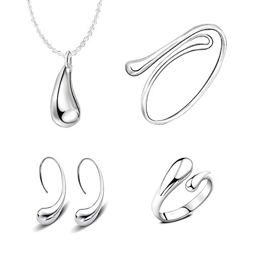 - 4 Pieces Jewelry Set S925 Sterling Silver Water Drop Shape Earrings Bangle Necklace Ring Women Girl Gift