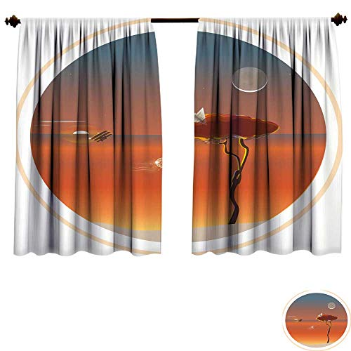 (bedroom curtains Vector illustration of a tree with a dream catcher in the wind against the backdrop of a setting sun and a rising moon Airplane and paper airplane are symbdrapes panels W72