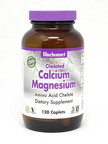 BlueBonnet Albion Chelated Calcium Magnesium Caplets, 120 Count (Chelated Magnesium Bluebonnet)