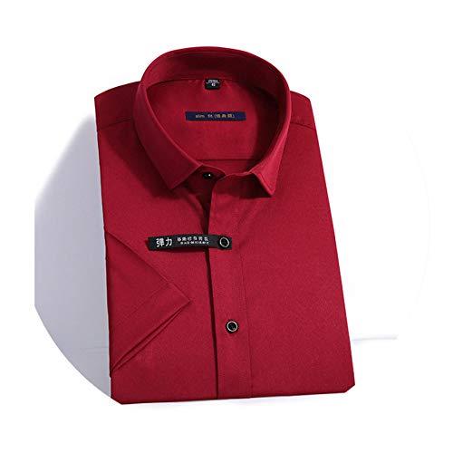 Elasticity Slim Fit Men Short Sleeved Shirt Red White Black Blue Male Social Formal Dress Casual Shirt