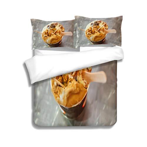 MTSJTliangwan Family Bed Mocha and Rum Raisin ice Cream 3 Piece Bedding Set with Pillow Shams, Queen/Full, Dark Orange White Teal Coral