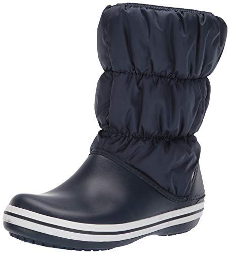 Winter Boots Navy (Crocs Winter Puff Boot Women Mid Calf, Navy/White, 7 M US)